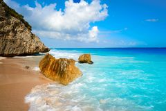 Tulum beach palm tree in Riviera Maya. Tulum turquoise beach in Riviera Maya at Mayan stock image