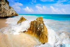 Tulum beach palm tree in Riviera Maya. Tulum turquoise beach in Riviera Maya at Mayan stock images
