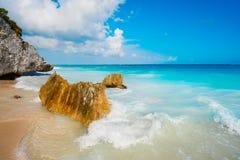 Tulum beach in Riviera Maya at the Caribbean of Mayan. Mexico stock photography