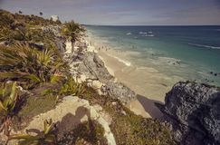 Tulum beach during sunset. View of the beach of Tulum ruins in Mexico. The beach is taken from above during the sunset stock images