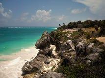 Tulum. Beach of Tulum, located in México. One of the most beautifull beaches in the world Stock Photo