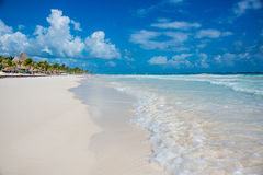 Tulum beach view, caribbean paradise, at Quintana Roo, Mexico. Stock Images