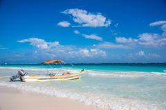 Tulum beach view and local boat caribbean paradise, at Quintana Royalty Free Stock Images