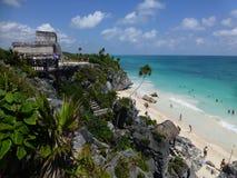 Tulum Beachside tempel Arkivbilder