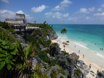 Tulum Beachside Temple. Mayan Temple on the beach in Tulum, Mexico Stock Images