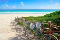 Tulum Caribbean beach bicycles Riviera Maya. Tulum Caribbean beach bicycles in Riviera Maya of Mayan Mexico stock photos
