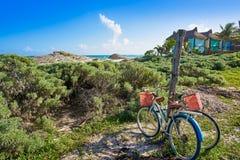 Tulum Caribbean bicycles in Riviera Maya. Tulum Caribbean beach bicycles in Riviera Maya of Mayan Mexico stock photo