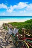 Tulum Caribbean beach bicycles Riviera Maya. Tulum Caribbean beach bicycles in Riviera Maya of Mayan Mexico royalty free stock photography
