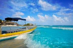 Tulum Caribbean beach boat in Riviera Maya. Tulum Caribbean turquoise beach boat in Riviera Maya of Mayan Mexico stock photos