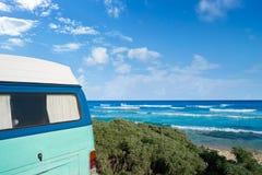 Tulum Caribbean beach with van Riviera Maya. Tulum Caribbean beach with van in Riviera Maya of Mayan Mexico stock photography