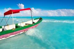 Tulum Caribbean beach in Riviera Maya. Tulum Caribbean turquoise beach boat in Riviera Maya of Mayan Mexico stock photography