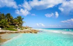 Tulum Caribbean beach in Riviera Maya. Tulum Caribbean turquoise beach in Riviera Maya of Mayan Mexico royalty free stock images