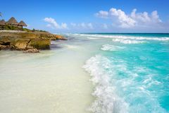 Tulum Caribbean beach in Riviera Maya. Tulum Caribbean turquoise beach in Riviera Maya of Mayan Mexico stock photography