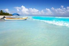 Tulum Caribbean beach in Riviera Maya. Tulum Caribbean turquoise beach in Riviera Maya of Mayan Mexico royalty free stock photos