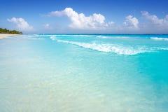 Tulum Caribbean beach in Riviera Maya. Tulum Caribbean turquoise beach in Riviera Maya of Mayan Mexico stock image