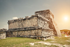 Tulum Castle Mayan Ruins in Quintana Roo Stock Photography