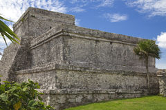 Tulum - El Castillo. The side which is turned to the sea royalty free stock photography