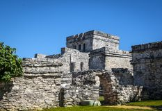 Tulum mayan ruins in Mexico. Tulum fortress and mayan ruins in Yucatan peninsula, Mexico Royalty Free Stock Photo