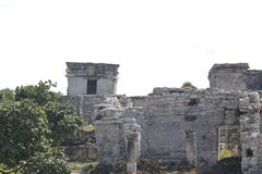 Other temple of Tulum, Mexico. Tulum has many constructions. this view is of one of its temples. Visited for many tourists but is forbidden enter inside the stock images