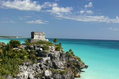 Tulum Lookout. Mayan/Aztec/Toltec Ruins at Tulum in Mexico. One of few ruins overlooking the ocean stock photo