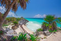 Tulum Maya Ruins with Caribbean Sea in the background in Yucatan, Mexico stock images