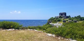 Tulum maya ruins by the sea, southern Mexico. Mayan fortress royalty free stock photos
