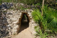 Tulum Mayan arch in Riviera Maya Mexico Royalty Free Stock Image