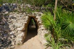Tulum Mayan arch in Riviera Maya Mexico. Tulum Mayan arch entrance corridor to ruins in Riviera Maya of Mexico Royalty Free Stock Image