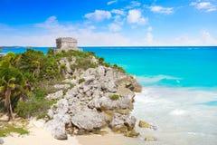 Tulum Mayan city ruins in Riviera Maya. At the Caribbean of Mayan Mexico stock image