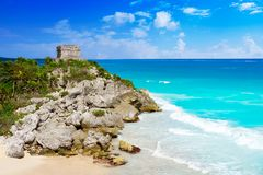 Tulum Mayan city ruins in Riviera Maya Royalty Free Stock Photography