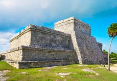 Tulum Mayan city ruins in Riviera Maya. At the Caribbean of Mayan Mexico stock photo