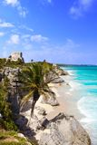 Tulum Mayan city ruins in Riviera Maya at the Caribbean. Of Mayan Mexico royalty free stock photos