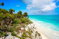 Tulum Mayan city ruins in Riviera Maya at the Caribbean. Of Mayan Mexico royalty free stock image