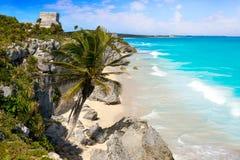 Tulum Mayan city ruins in Riviera Maya at the Caribbean. Of Mayan Mexico stock photography