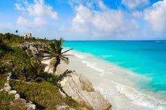 Tulum Mayan city ruins in Riviera Maya. At the Caribbean of Mayan Mexico royalty free stock image