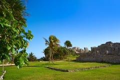 Tulum Mayan city ruins in Riviera Maya. At the Caribbean of Mayan Mexico stock images