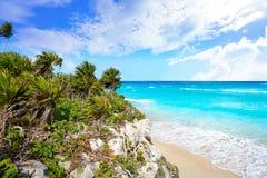 Tulum Mayan city ruins in Riviera Maya at the Caribbean. Of Mayan Mexico royalty free stock photos
