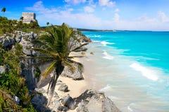 Tulum Mayan city ruins in Riviera Maya at the Caribbean. Of Mayan Mexico stock image