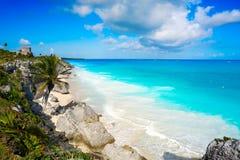 Tulum Mayan city ruins in Riviera Maya at the Caribbean. Of Mayan Mexico stock images