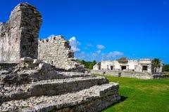 Tulum Mayan city ruins in Riviera Maya. At the Caribbean of Mayan Mexico royalty free stock photo