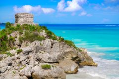 Tulum Mayan city ruins in Riviera Maya. At the Caribbean of Mayan Mexico stock images