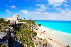 Tulum Mayan city ruins in Riviera Maya. At the Caribbean of Mayan Mexico stock photography