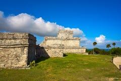 Tulum Mayan city ruins in Riviera Maya. At the Caribbean of Mayan Mexico royalty free stock images