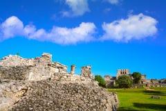 Tulum Mayan city ruins in Riviera Maya. At the Caribbean of Mayan Mexico stock photos