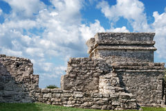 Tulum Mayan ruins. Walls and tower of Mayan ruins in Tulum, Mexico Royalty Free Stock Image