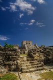 Tulum, Mayan Ruins Besides Caribbean Sea. Riviera Maya, Traveling America Stock Photo