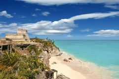 Tulum mayan ruins caribbean sea in Mexico Stock Photos