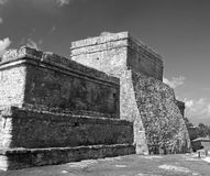 Tulum Mayan Ruins - Castillo / Temple of the Diving God and Temp. Le of the Initial Series - Black and White Stock Photography