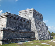 Tulum Mayan Ruins - Castillo / Temple of the Diving God and Temple of the Initial Series Royalty Free Stock Photo