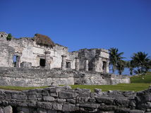 Tulum Mayan ruins Mexico. The Tulum Mayan ruins pictured on east coast of Yucatan peninsula in the state of Quintana Roo in Mexico. This is an archaeological Royalty Free Stock Image